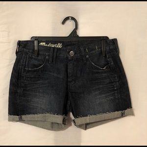 Madewell 25 Denim Shorts Blue Distressed